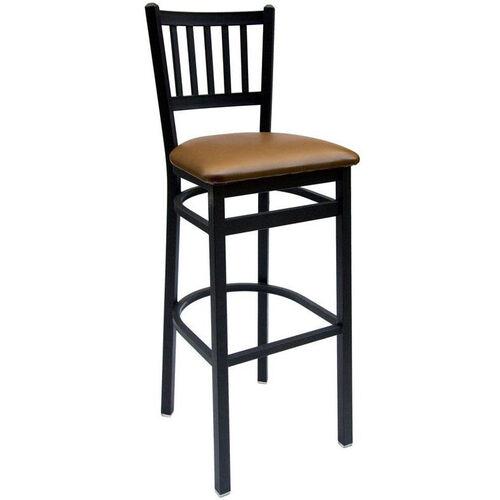 Troy Metal Slat Back Barstool - Vinyl Seat