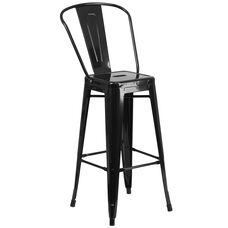 "Commercial Grade 30"" High Black Metal Indoor-Outdoor Barstool with Back"