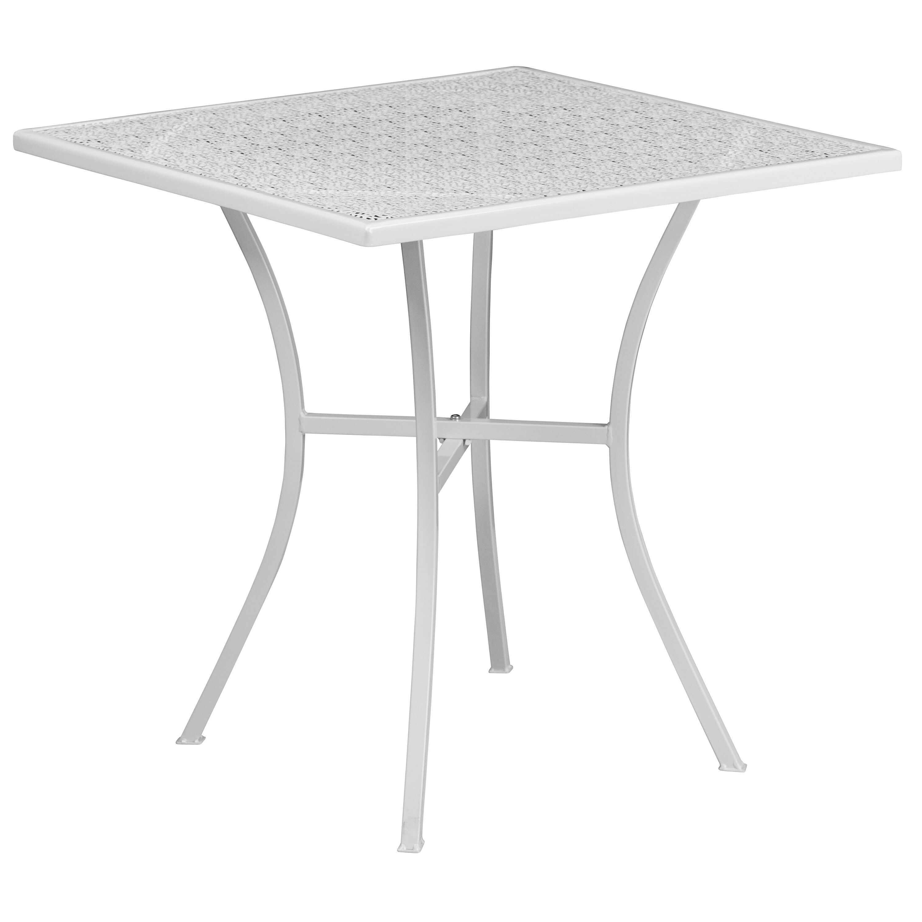 White Folding Patio Table,28SQ FLASH FURNITURE CO-1-WH-GG