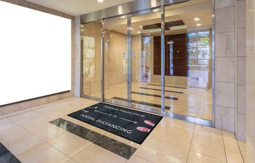 "Our ""Please Practice Social Distancing"" Message Floor Mat - 35""W x 59""D is on sale now."