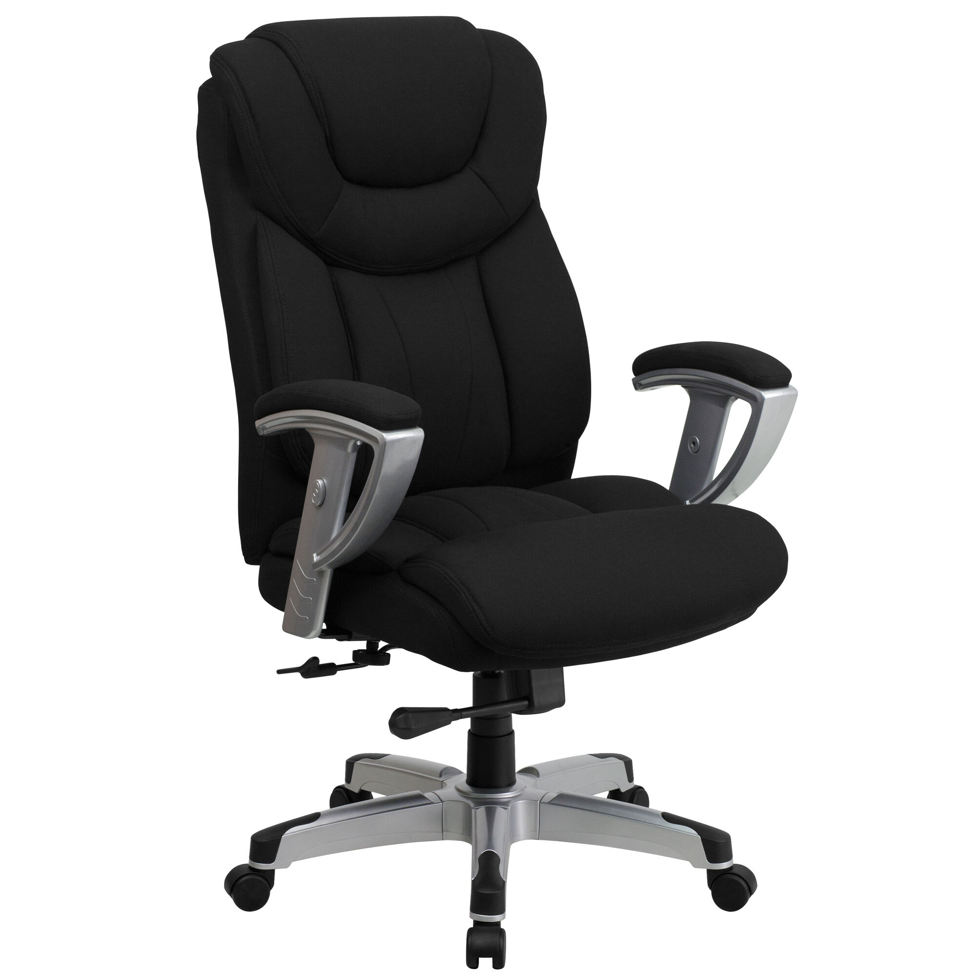 Hercules Series Big Tall 400 Lb Rated Black Fabric Executive Ergonomic Office Chair With Silver Adjustable Arms