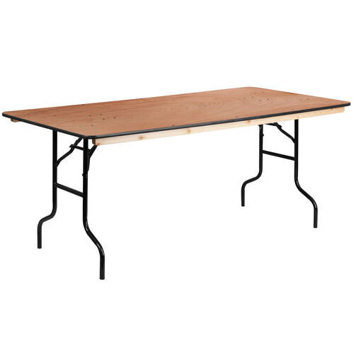 6-Foot Rectangular Wood Folding Banquet Table with Clear Coated Finished Top