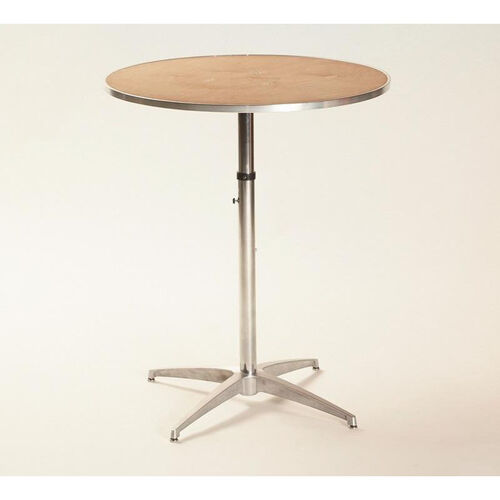 Our Standard Series Height Adjustable Round Pedestal Table with Chrome Plated Steel Column and Plywood Top - 30