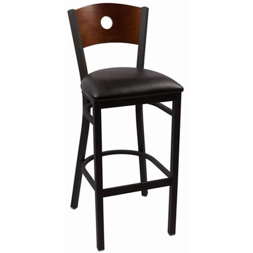 Circle Series Wood Back Armless Barstool with Steel Frame and Vinyl Seat - Walnut