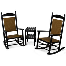 POLYWOOD® Jefferson 3-Piece Woven Rocker Set - Black Frame / Tigerwood