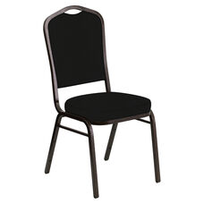 Embroidered Crown Back Banquet Chair in E-Z Heidi Black Vinyl - Gold Vein Frame