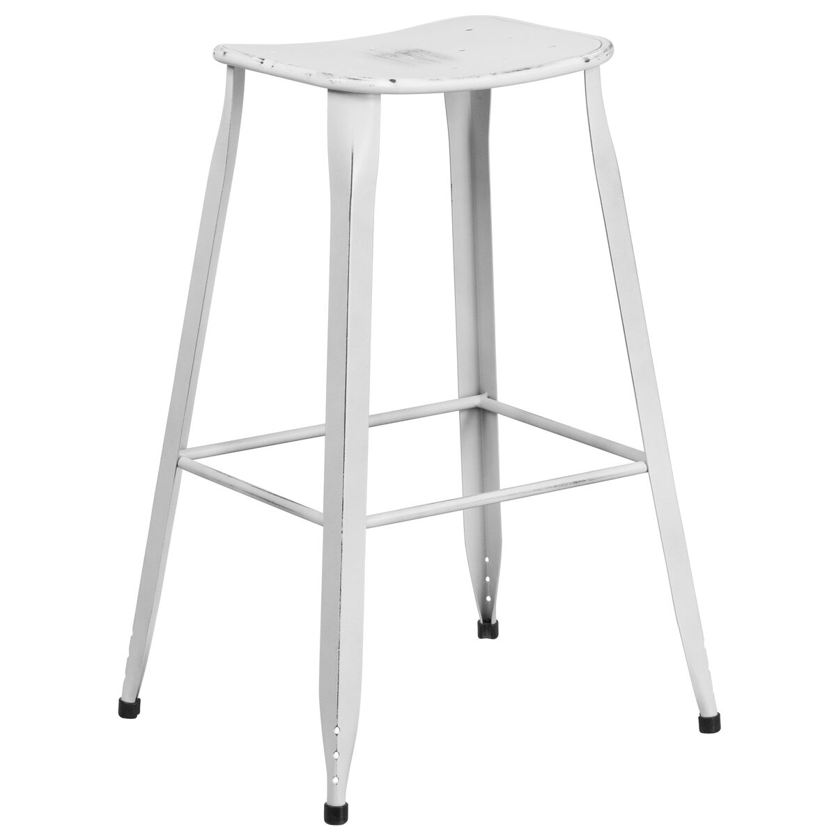Our 29 75 High Distressed White Metal Indoor Outdoor Saddle Comfort Barstool Is On