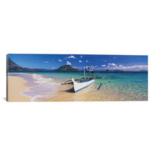 Fishing boat moored on the beach, Palawan, Philippines by Panoramic Images Gallery Wrapped Canvas Artwork