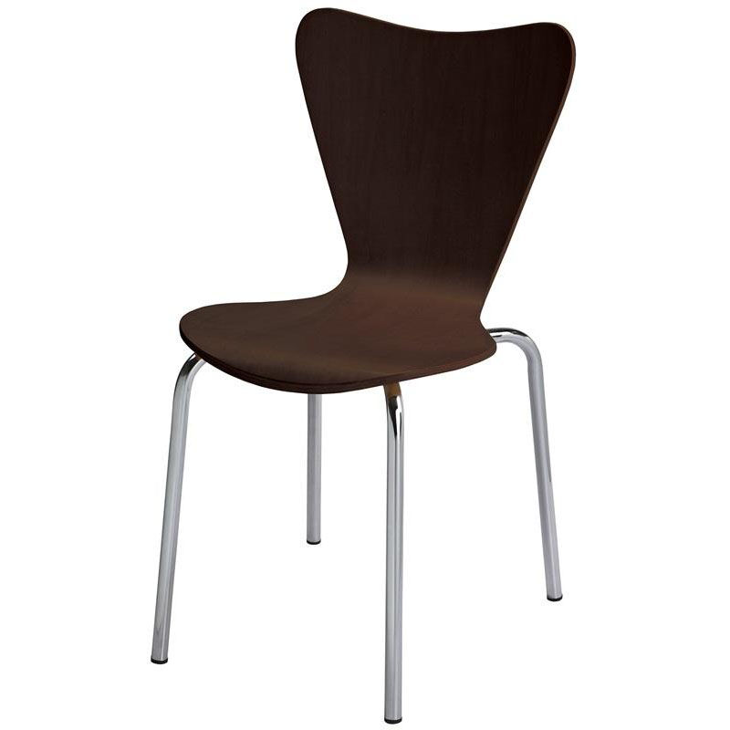 Our 3800 Series Bentwood Stacking Armless Cafe Chair With Chrome Frame    Espresso Is On Sale