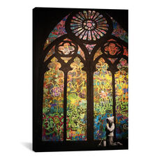 Stained Glass Window Graffiti by Banksy Gallery Wrapped Canvas Artwork