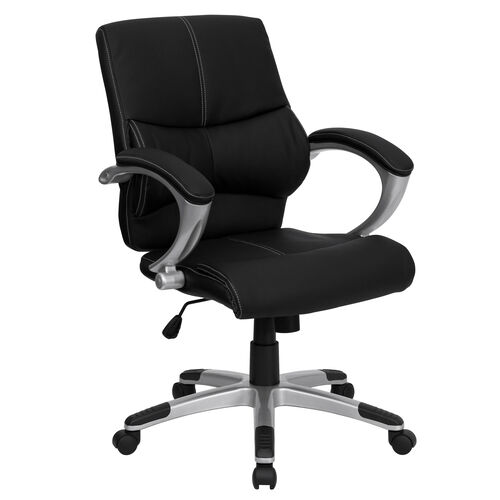 Mid-Back Black LeatherSoft Contemporary Swivel Manager