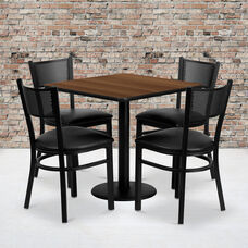 30'' Square Walnut Laminate Table Set with Grid Back Metal Chair and Black Vinyl Seat, Seats 4