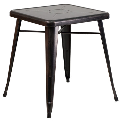 """Our Commercial Grade 23.75"""" Square Black-Antique Gold Metal Indoor-Outdoor Table is on sale now."""