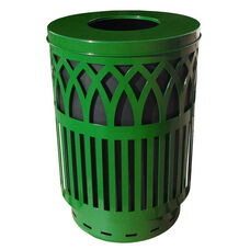 40 Gallon Covington Galvannealed Steel Flat-Top Can with Plastic Liner - Green