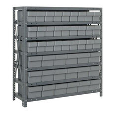 7 Shelf Open Unit with 18 Large Drawers and 27 Small Drawers - Gray
