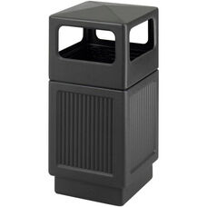 Canmeleon™ 38 Gallon Indoor or Outdoor Receptacle with Side Open Recessed Panels - Black