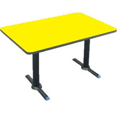 Laminate Top Rectangular Cafe Table with Cast Iron T-Base - 30