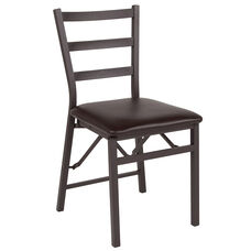 Brown Folding Ladder Back Metal Chair with Brown Vinyl Seat
