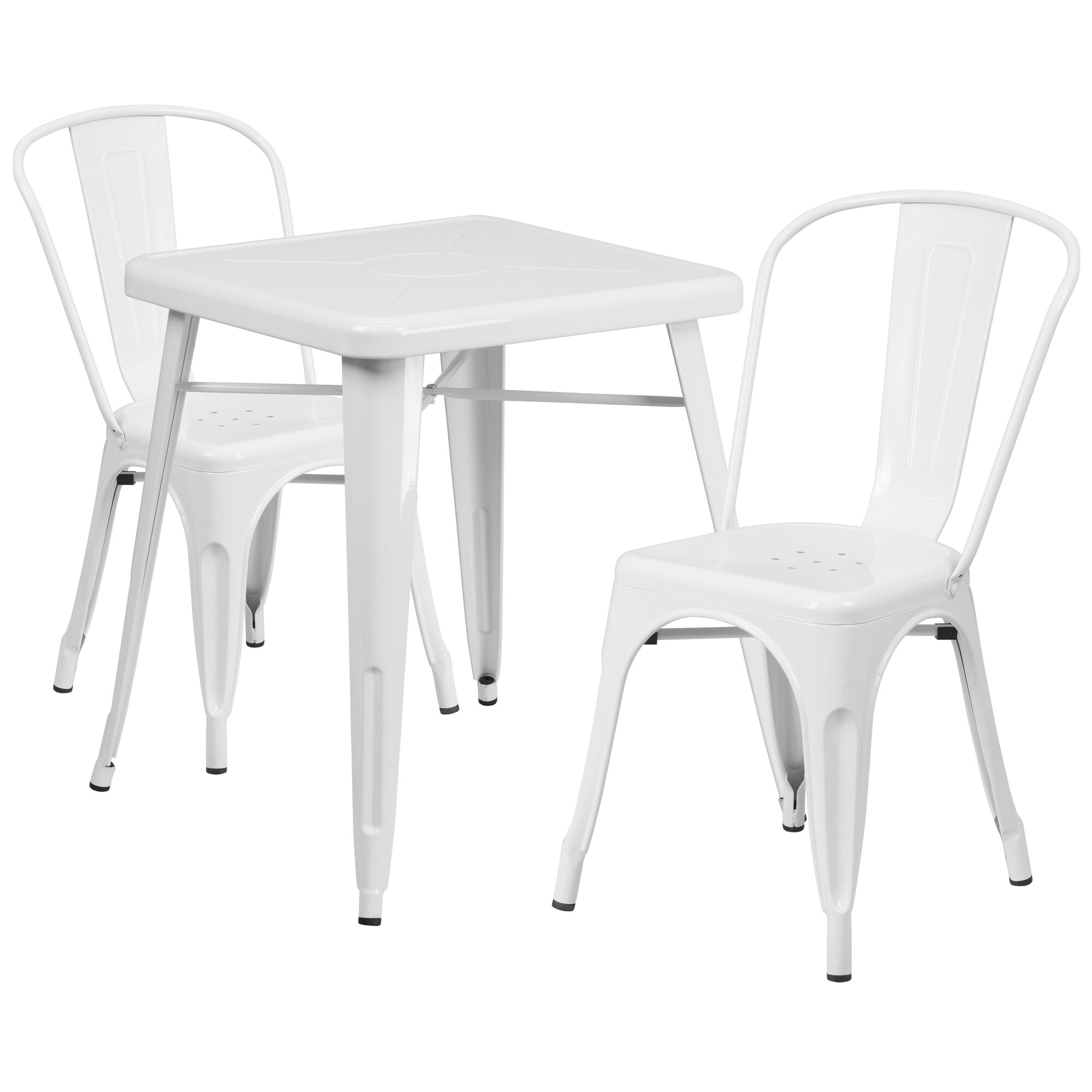 Commercial Grade 23 75 Square White Metal Indoor Outdoor Table Set With 2 Stack Chairs