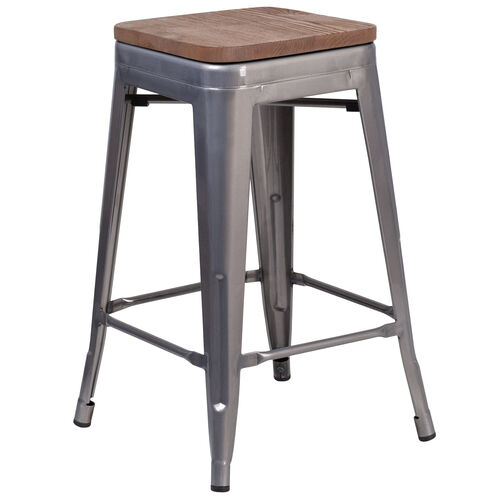 "Our 24"" High Backless Clear Coated Metal Counter Height Stool with Square Wood Seat is on sale now."