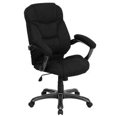 High Back Black Microfiber Contemporary Executive Swivel Chair with Arms