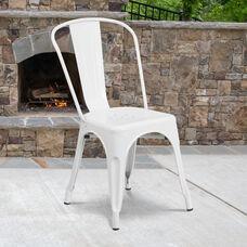 Commercial Grade White Metal Indoor-Outdoor Stackable Chair
