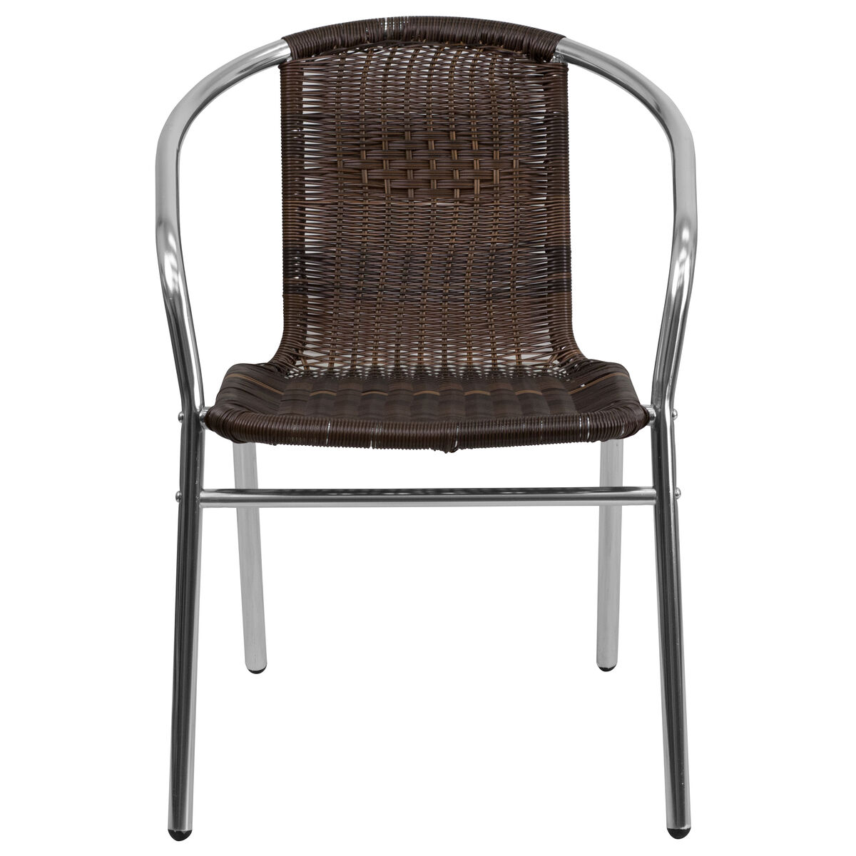 Flash Furniture Commercial Aluminum And Dark Brown Rattan
