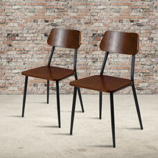 Stackable Industrial Dining Chair with Gunmetal Steel Frame and Rustic Wood Seat, Set of 2