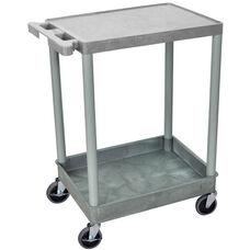 Heavy Duty Multi-Purpose Mobile Utility Cart with 1 Flat Shelf and 1 Tub Shelf - Gray - 24