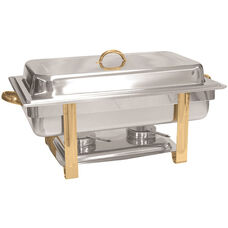 8 Quart Gold Accented Oblong Chafer