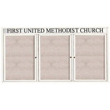 3 Door Outdoor Illuminated Enclosed Bulletin Board with Header and White Powder Coated Aluminum Frame - 48