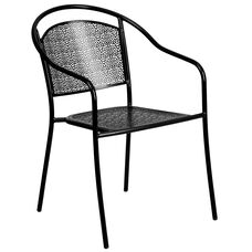 Commercial Grade Black Indoor-Outdoor Steel Patio Arm Chair with Round Back