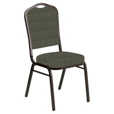 Embroidered Crown Back Banquet Chair in Abbey Fern Fabric - Gold Vein Frame