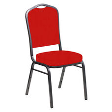 Embroidered E-Z Sierra Torch Red Vinyl Upholstered Crown Back Banquet Chair - Silver Vein Frame