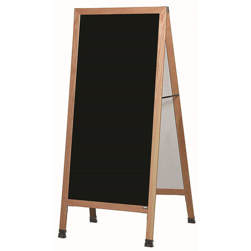 Our Extra Large A-Frame Sidewalk Board with Black Acrylic Board and Clear Lacquer Finished Solid Red Oak Frame - 30