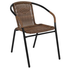 Medium Brown Rattan Indoor-Outdoor Restaurant Stack Chair