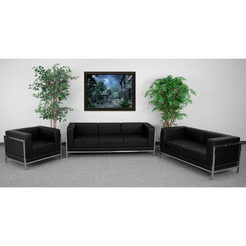 HERCULES Imagination Series Black LeatherSoft 3 Piece Sofa Set