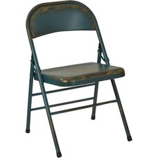 OSP Designs Bristow Distressed Steel Folding Chair - Set of 4 - Antique Turquoise