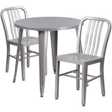 "Commercial Grade 30"" Round Silver Metal Indoor-Outdoor Table Set with 2 Vertical Slat Back Chairs"