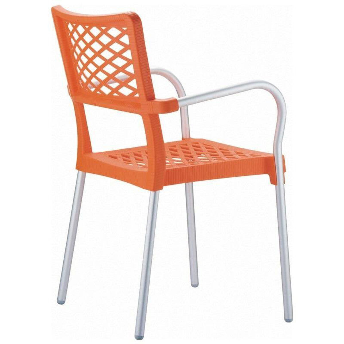 Bella resin stackable dining arm chair with aluminum frame