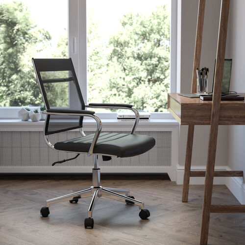 Mid-Back Black Mesh Contemporary Executive Swivel Office Chair with LeatherSoft Seat