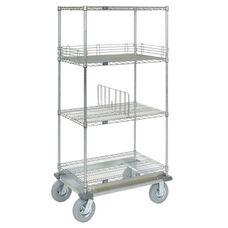 Wire Shelf Dolly Truck W/Rubber 2 Braking Wheels - 18