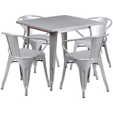 "Commercial Grade 31.5"" Square Silver Metal Indoor-Outdoor Table Set with 4 Arm Chairs"