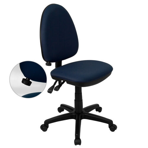 Mid-Back Navy Blue Fabric Multifunction Swivel Ergonomic Task Office Chair with Adjustable Lumbar Support