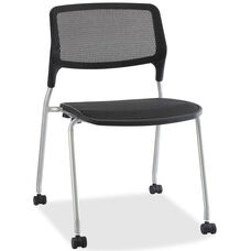 Lorell Black Mesh Back Stacking Guest Chair with Black Plastic Seat and Castors - Set of 2