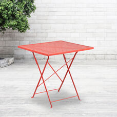 """Commercial Grade 28"""" Square Coral Indoor-Outdoor Steel Folding Patio Table"""