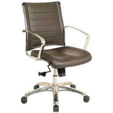 Europa Mid Back 22'' W x 25.5'' D x 35.8'' H Adjustable Height Leather Office Chair - Brown