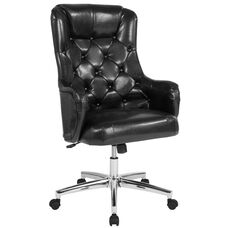 Chambord Home and Office Upholstered High Back Chair in Black Leather