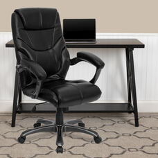 High Back Black LeatherSoft Overstuffed Executive Swivel Ergonomic Office Chair with Arms