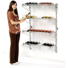 Chrome Single Wide Wall Mount Wine Rack - 52 Bottle Capacity - 14